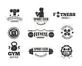 Gym sport club fitness emblem vector illustration