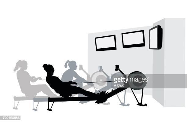 ilustraciones, imágenes clip art, dibujos animados e iconos de stock de entrenamientos de gimnasio televisión - entrenamiento de fuerza