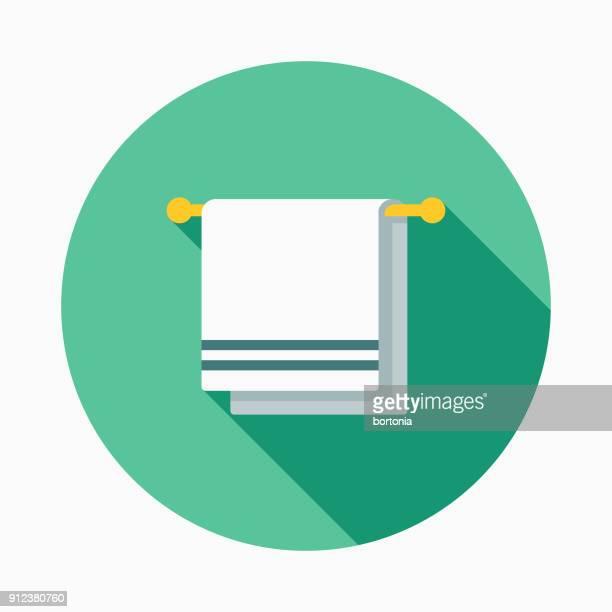 ilustraciones, imágenes clip art, dibujos animados e iconos de stock de gimnasio toalla diseño plano fitness y ejercicio icono - ducha