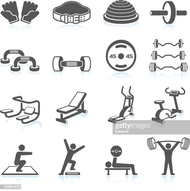 Gym workout and weight lifting black & white icon set