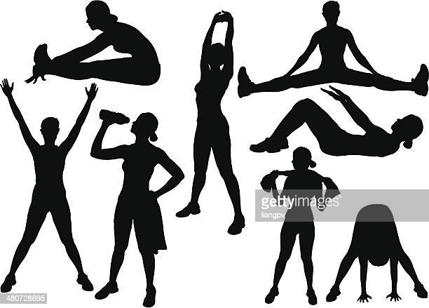 gym workout - leisure facilities stock illustrations, clip art, cartoons, & icons