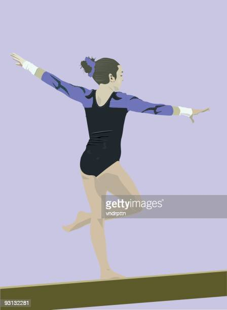 gymnast beam routine - ancient olympic games stock illustrations, clip art, cartoons, & icons