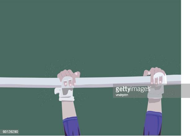 gymnast on bars - ancient olympic games stock illustrations, clip art, cartoons, & icons