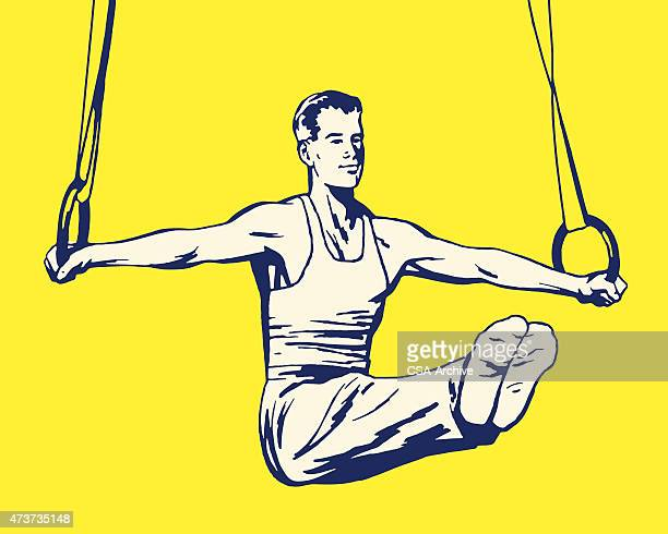 gymnast on rings - gymnastics stock illustrations, clip art, cartoons, & icons