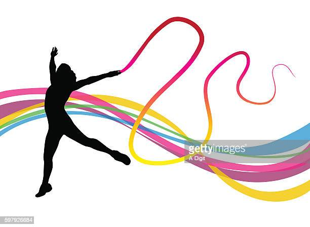 gymnast performance flow - ribbon routine rhythmic gymnastics stock illustrations