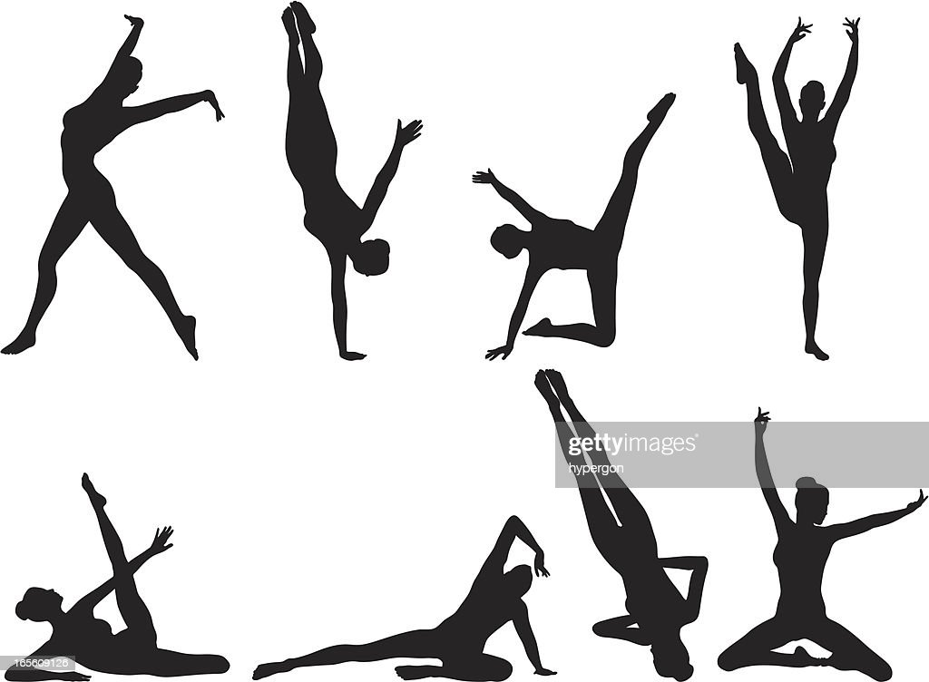 gymnast silhouette collection vector art