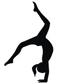 Gymnastic exercises, black silhouette