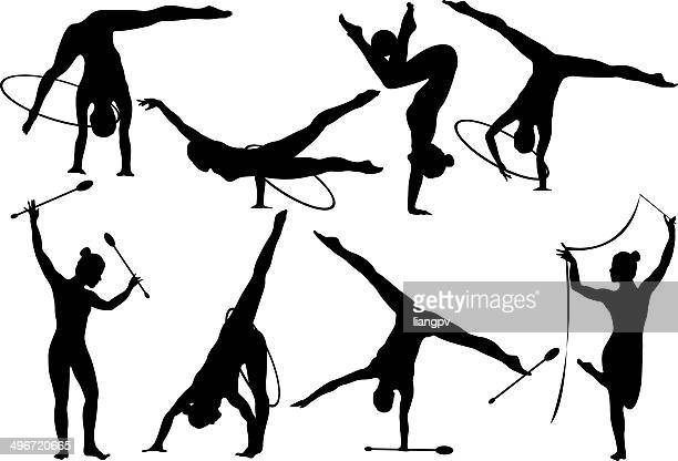 gymnastic - ribbon routine rhythmic gymnastics stock illustrations