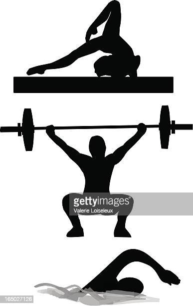 gymnastic, weightlifting and swimming - barbell stock illustrations, clip art, cartoons, & icons