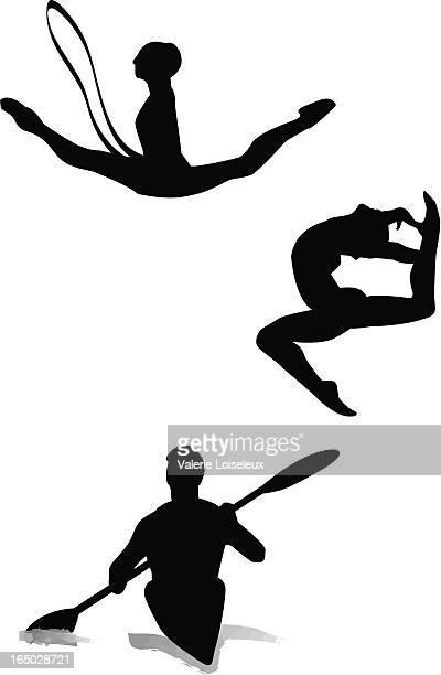 ilustraciones, imágenes clip art, dibujos animados e iconos de stock de gimnasia en kayak y canoa - baile moderno