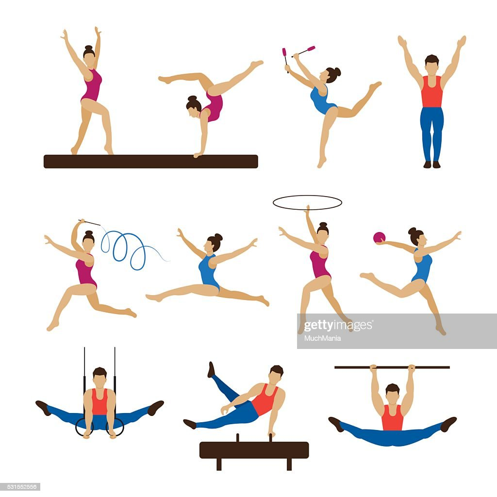 Gymnastics Athletes, Men and Women Set