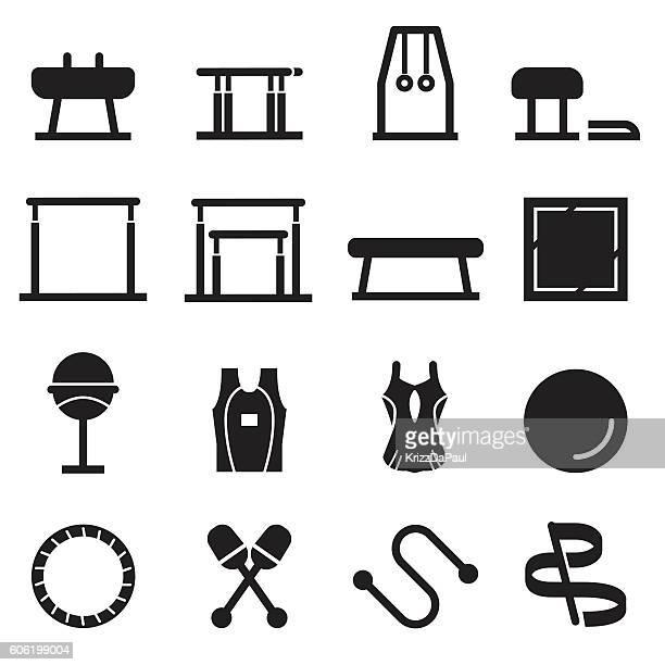 gymnastics equipment icons [black edition] - gymnastics stock illustrations