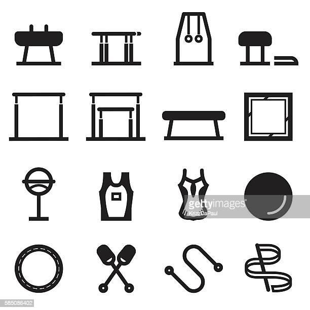 gymnastics equipment icons - gymnastics stock illustrations