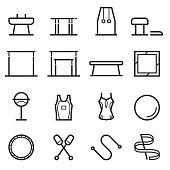 Gymnastics Equipment Thin Line Icons