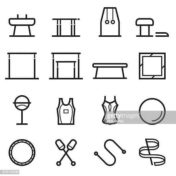 gymnastics equipment thin line icons - plastic hoop stock illustrations