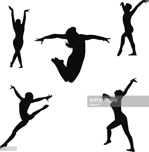 gymnastics floor routine - gymnastics stock illustrations, clip art, cartoons, & icons