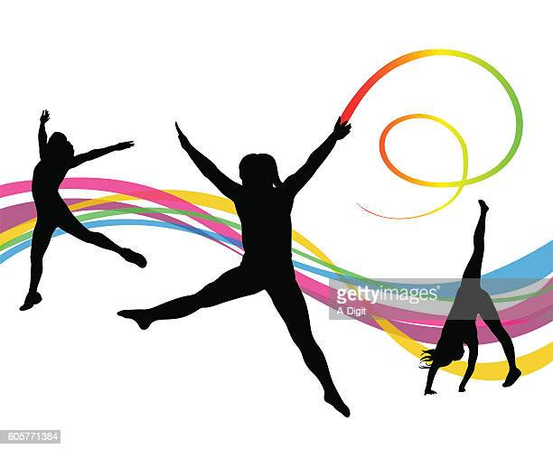 gymnastics ribbon wand - ribbon routine rhythmic gymnastics stock illustrations