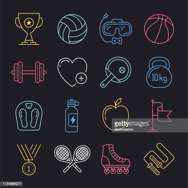 gymnastics training program neon style vector icon set - country club stock illustrations, clip art, cartoons, & icons