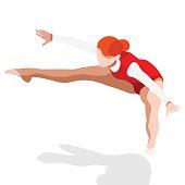 Gymnastics Trampolining  Sports 3D Vector Illustration
