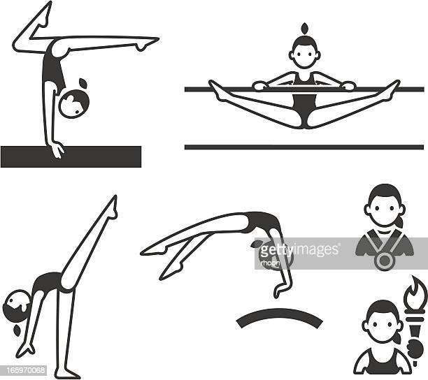 illustrations, cliparts, dessins animés et icônes de gymnastique sportive - gymnastique sportive