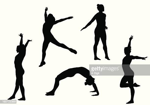 gymnastics vector silhouette - gymnastics stock illustrations