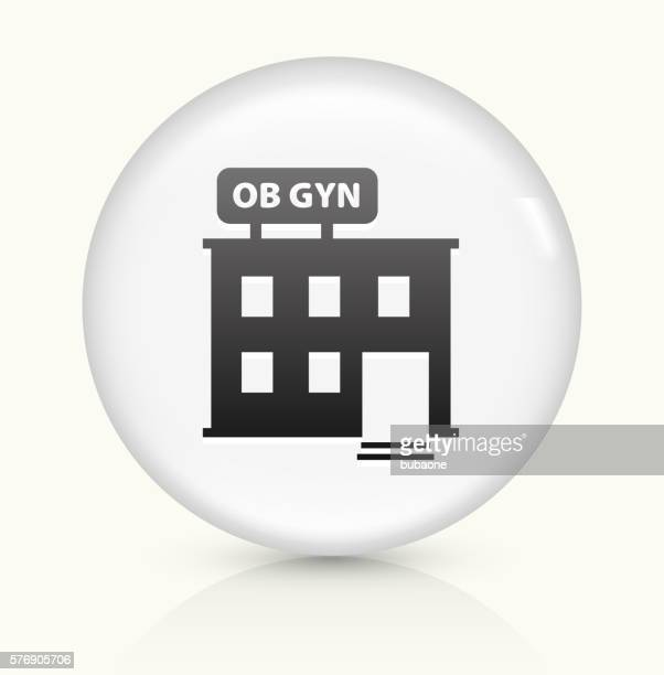 gynecology offices icon on white round vector button - menopause stock illustrations, clip art, cartoons, & icons