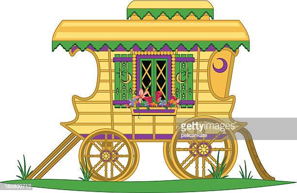 gypsy wagon - horse cart stock illustrations, clip art, cartoons, & icons