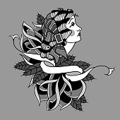 Gypsy woman tattoo design illustration.