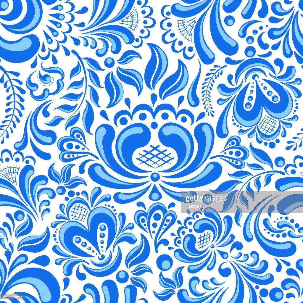Gzhel seamless pattern