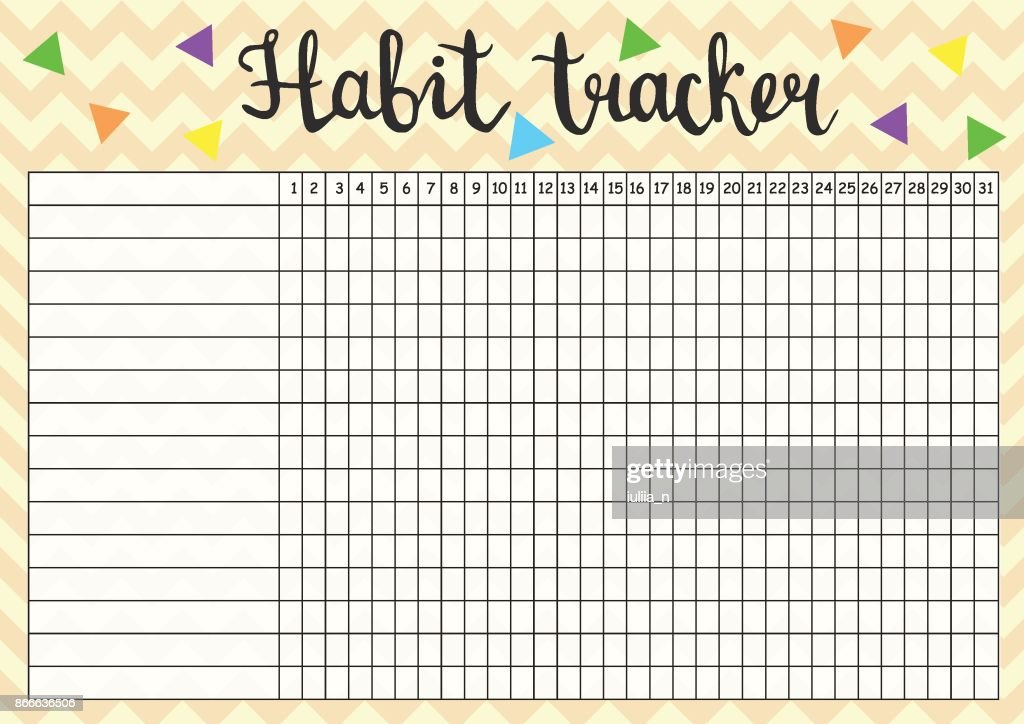 Habit tracker empty blank, monthly planner template in yellow colors, vector