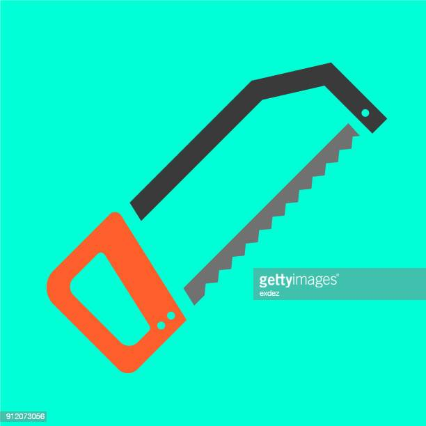 hack saw icon - serrated stock illustrations, clip art, cartoons, & icons