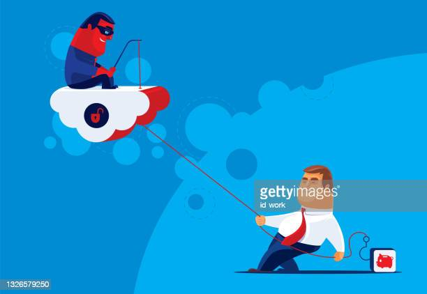 hacker and businessman competing piggy bank icon unsafe cloud computing - scammer stock illustrations