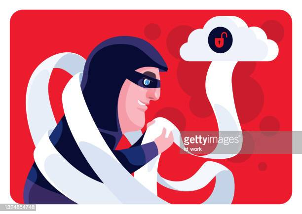 hacker checking data via unsafe cloud computing - scammer stock illustrations