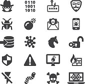 Hacker Cyber Crime Silhouette Icons   EPS10