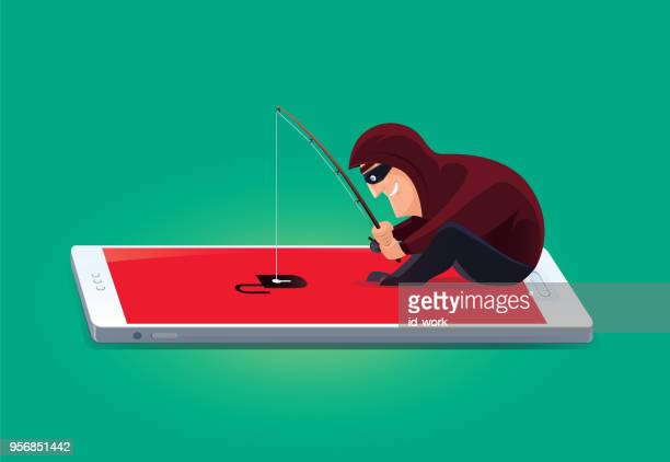 hacker fishing with unlocked smartphone - malfarbe stock illustrations