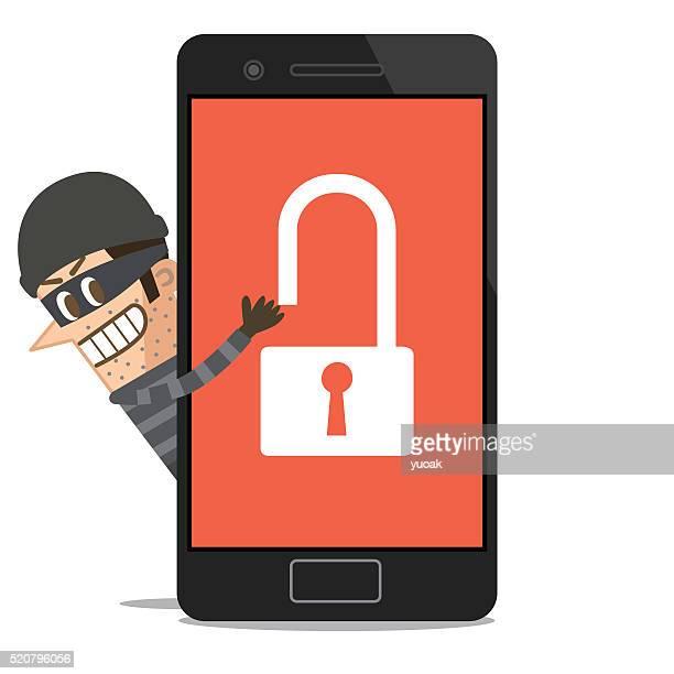 hacker hacking smartphones - computer bug stock illustrations