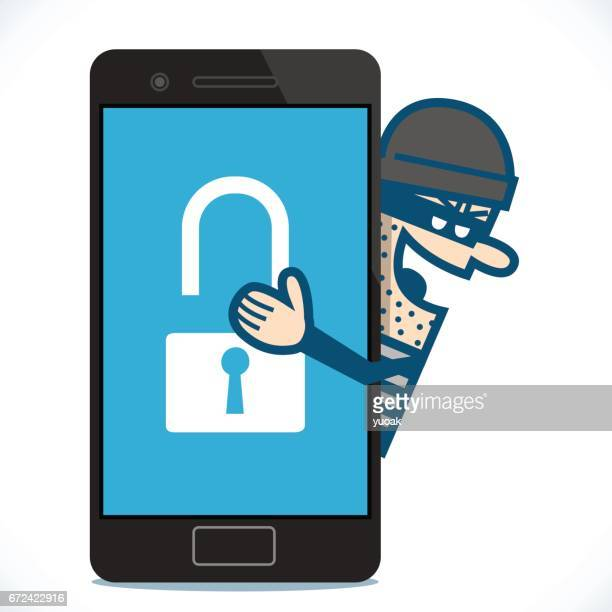 Hacker hacking smartphone