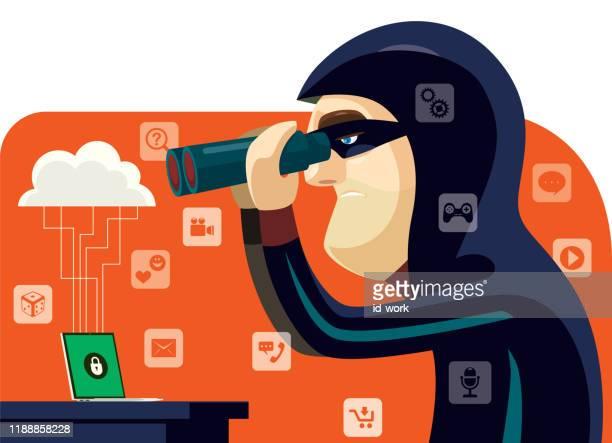 ilustraciones, imágenes clip art, dibujos animados e iconos de stock de hacker sosteniendo binoculares - bullying
