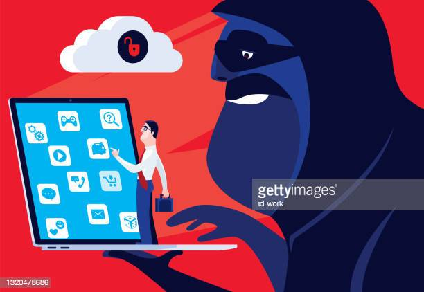 hacker holding laptop with unsafe cloud computing - scammer stock illustrations