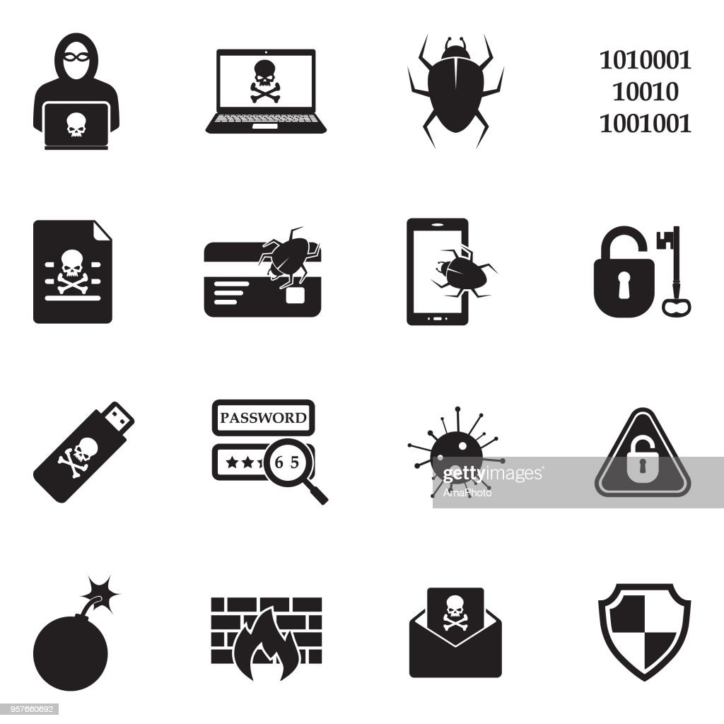 Hacker Icons. Black Flat Design. Vector Illustration.