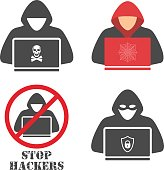 Hacker icons.Hacker with laptop, hacking the Internet, concept vector illustration, activity, computer security technology concept