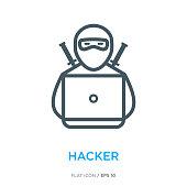 Hacker line flat icon