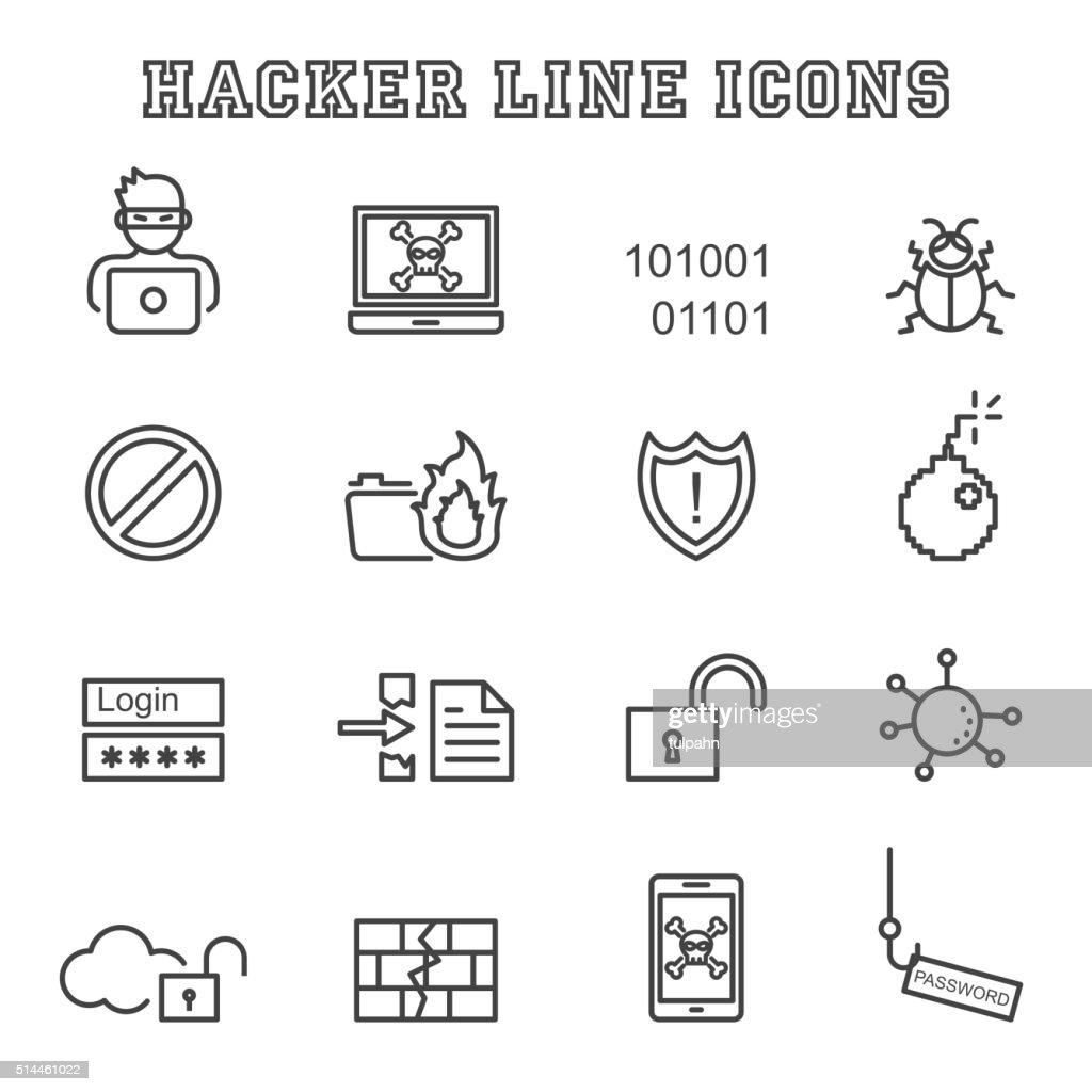 hacker line icons
