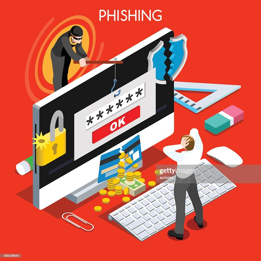 Hacker Phishing Infographic 3D Flat Isometric People Design Concept Spam