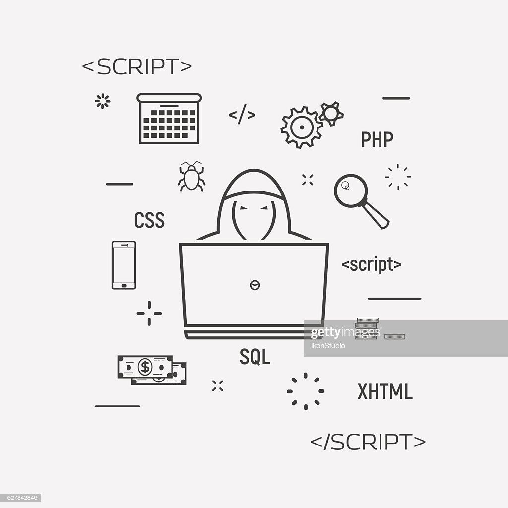 Hacker Programming Line Icon