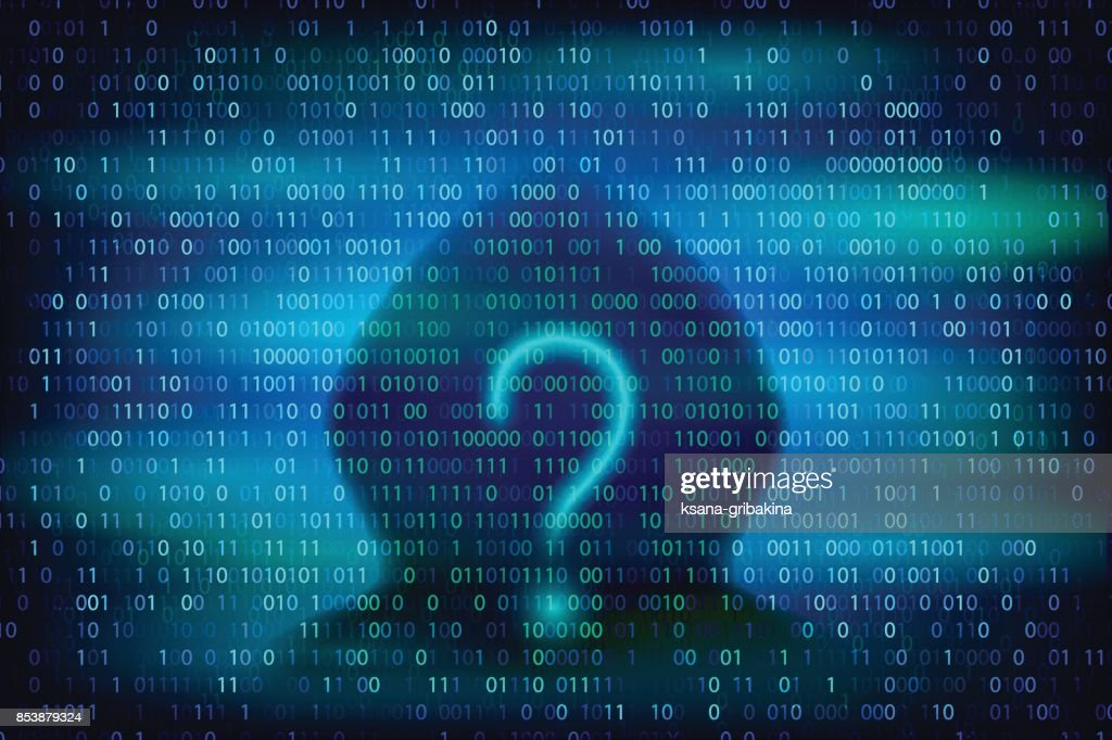 Hacker silhouette with question symbol on the blue background with binary code texture.