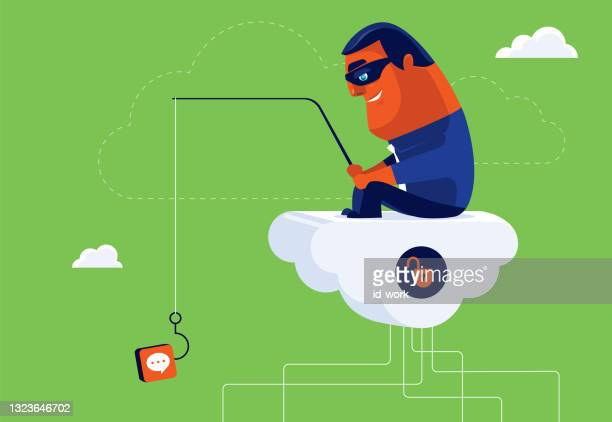 hacker sitting on cloud and phishing with speech bubble icon lure - scammer stock illustrations