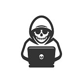 Hacker thief with laptop icon