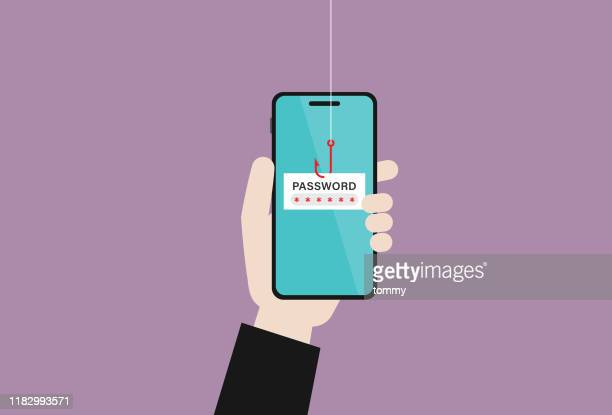 hacker uses a red fishing hook is stealing passwords on a mobile phone - phishing stock illustrations