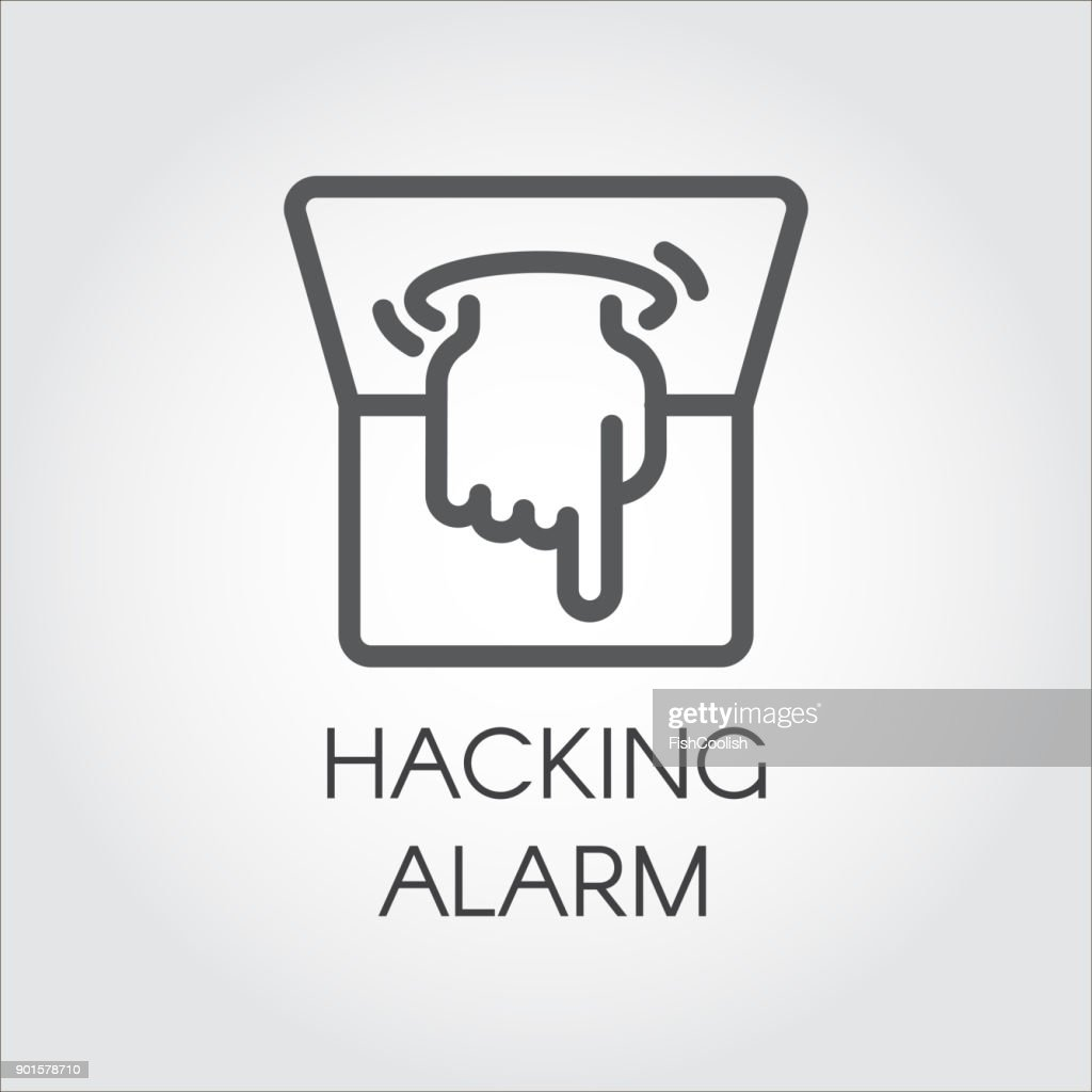 Hacking alarm outline icon. Virtual hacking PC, laptop and software label. Logo of hand crawling out of computer monitor